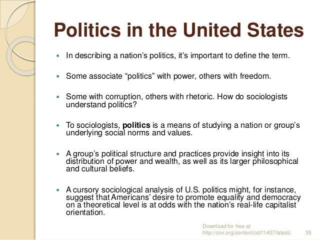 "Politics in the United States  In describing a nation's politics, it's important to define the term.  Some associate ""po..."