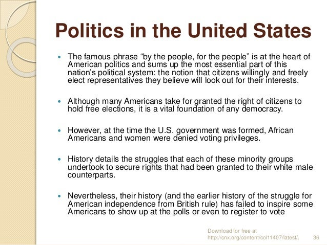 """Politics in the United States  The famous phrase """"by the people, for the people"""" is at the heart of American politics and..."""
