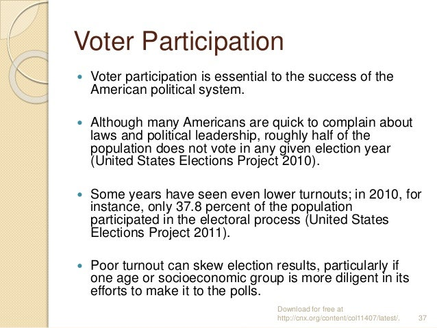 Voter Participation  Voter participation is essential to the success of the American political system.  Although many Am...