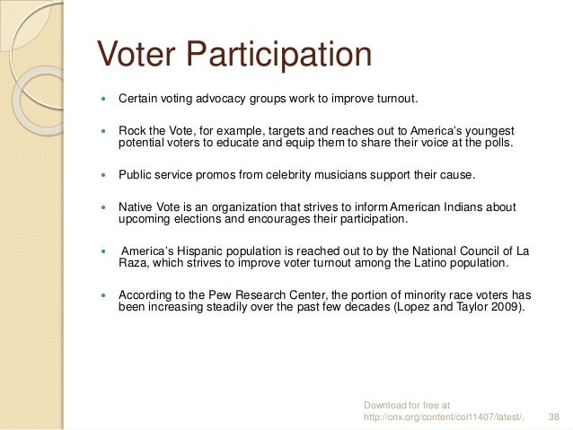 Voter Participation  Certain voting advocacy groups work to improve turnout.  Rock the Vote, for example, targets and re...