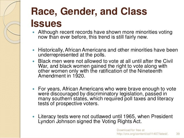 Race, Gender, and Class Issues  Although recent records have shown more minorities voting now than ever before, this tren...