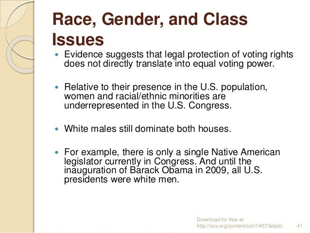 Race, Gender, and Class Issues  Evidence suggests that legal protection of voting rights does not directly translate into...