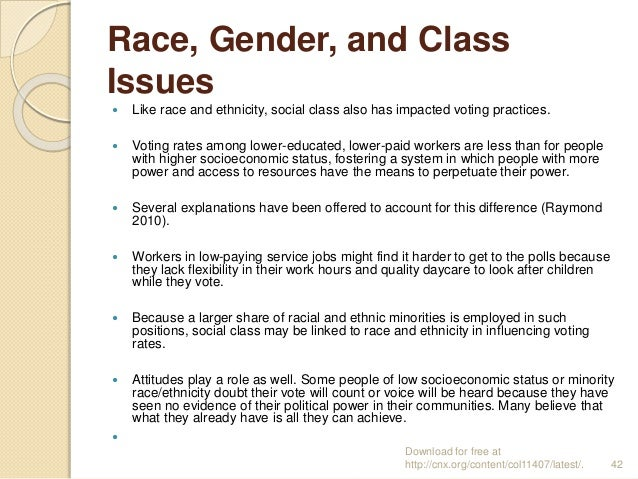 Race, Gender, and Class Issues  Like race and ethnicity, social class also has impacted voting practices.  Voting rates ...
