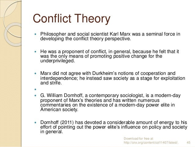 Conflict Theory  Philosopher and social scientist Karl Marx was a seminal force in developing the conflict theory perspec...