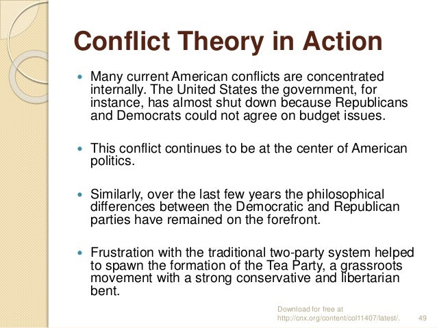 Conflict Theory in Action  Many current American conflicts are concentrated internally. The United States the government,...