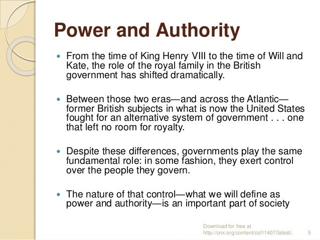 Power and Authority  From the time of King Henry VIII to the time of Will and Kate, the role of the royal family in the B...