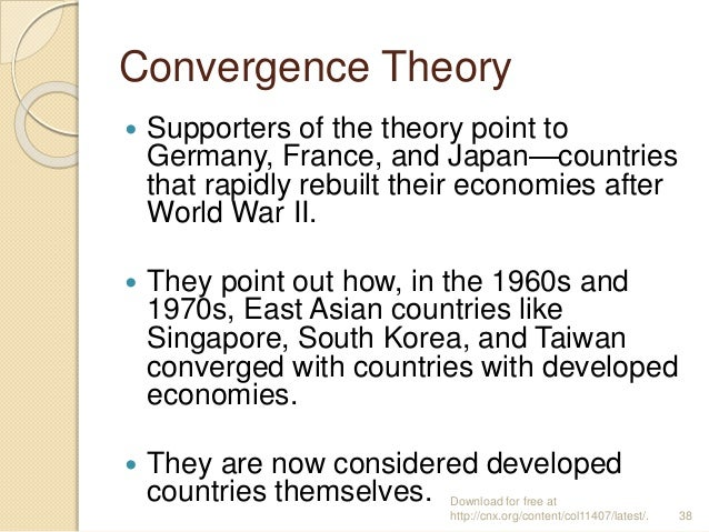 convergence thesis sociology Convergence theory is an economic theory that presupposes that the concept of development is 1 a universally good thing, and 2 defined by economic growth it frames convergence with supposedly developed nations to as a goal of so-called undeveloped or developing nations, and in doing so, fails to account for the numerous negative.