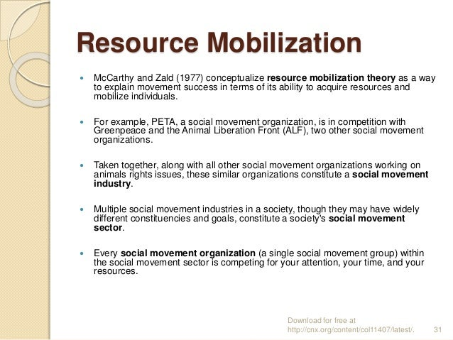 resource mobilisation theory Collective behavior and resource mobilization theory the study of collective behavior and social movements has been a central sub-discipline of sociology since the 1970s.