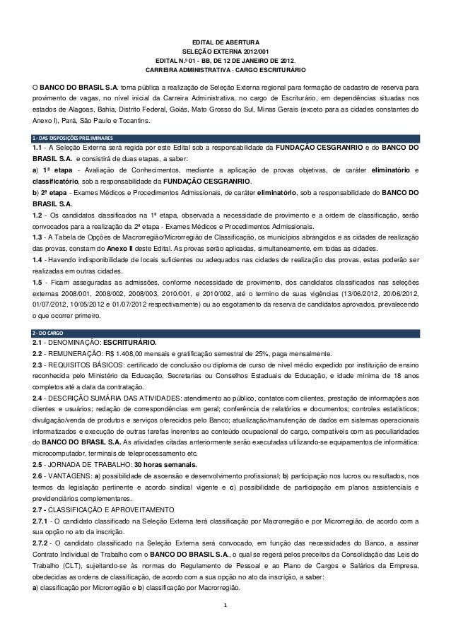 EDITAL DE ABERTURA                                                  SELEÇÃO EXTERNA 2012/001                              ...