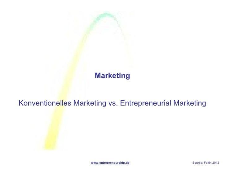 MarketingKonventionelles Marketing vs. Entrepreneurial Marketing                     www.entrepreneurship.de      Source: ...