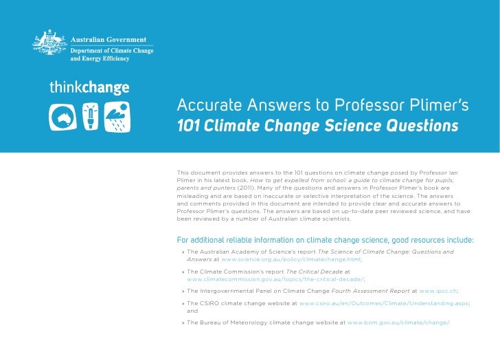 Accurate Answers to Professor Plimer's101 Climate Change Science QuestionsThis document provides answers to the 101 questi...