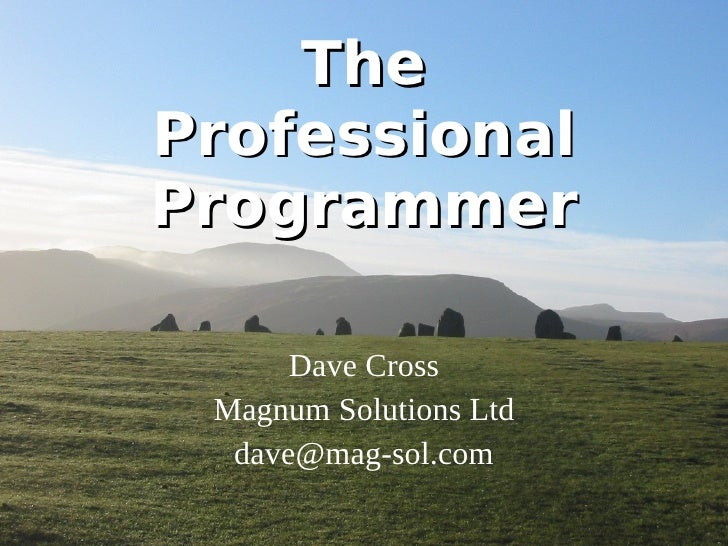 The Professional Programmer Dave Cross Magnum Solutions Ltd [email_address]