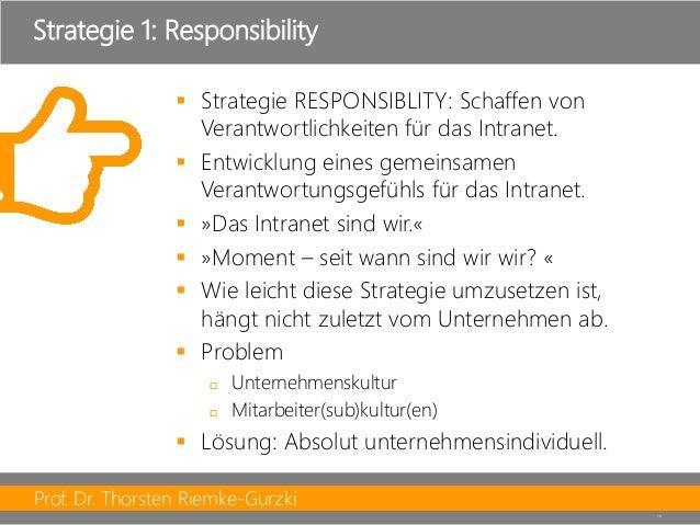 Prof. Dr. Thorsten Riemke-Gurzki  16  Strategie RESPONSIBLITY: Schaffen von Verantwortlichkeiten für das Intranet.  Entw...