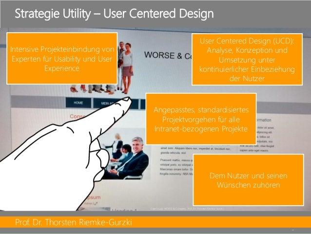 Prof. Dr. Thorsten Riemke-Gurzki  25  Strategie Utility –User CenteredDesign  User CenteredDesign (UCD): Analyse, Konzepti...