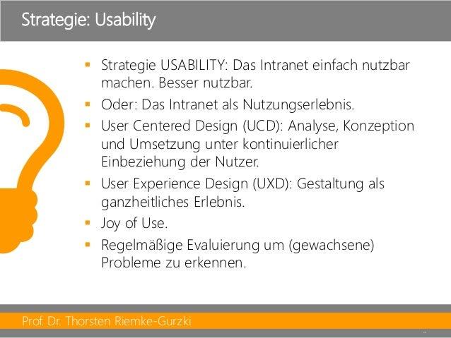 Prof. Dr. Thorsten Riemke-Gurzki  29  Strategie USABILITY: Das Intranet einfach nutzbar machen. Besser nutzbar.  Oder: D...