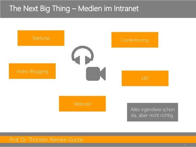 Prof. Dr. Thorsten Riemke-Gurzki  42  TheNextBig Thing –Medien im Intranet  Telefonie  Conferencing  VBT  Webcast  Video-B...