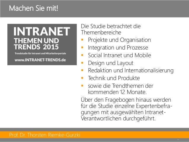 Prof. Dr. Thorsten Riemke-Gurzki  46  Die Studie betrachtet die Themenbereiche  Projekte und Organisation  Integration u...