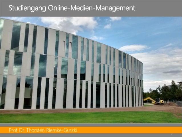 Prof. Dr. Thorsten Riemke-Gurzki  5  Studiengang Online-Medien-Management