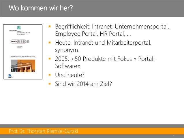 Prof. Dr. Thorsten Riemke-Gurzki  9  Begrifflichkeit: Intranet, Unternehmensportal, Employee Portal, HR Portal, …  Heute...