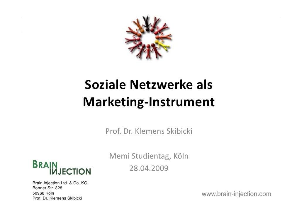 SozialeNetzwerkeals                           So iale Net erke als                           Marketing‐Instrument     ...