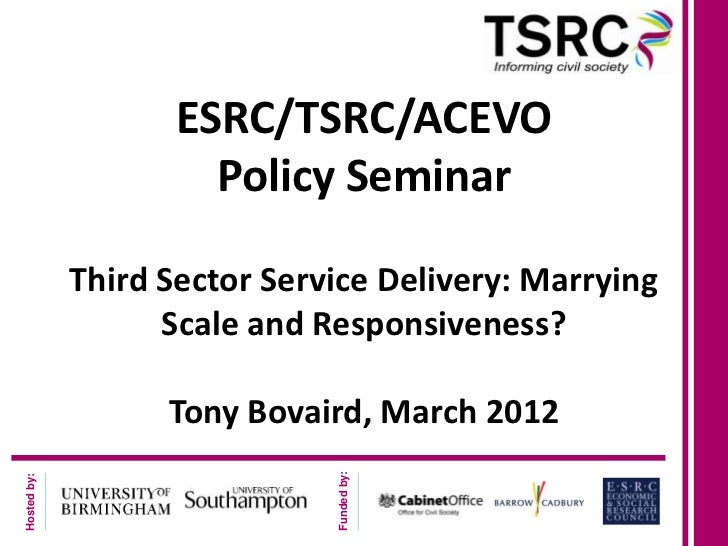 ESRC/TSRC/ACEVO                      Policy Seminar             Third Sector Service Delivery: Marrying                   ...