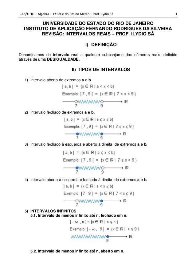 CAp/UERJ – Álgebra – 1ª Série do Ensino Médio – Prof. Ilydio Sá 1 UNIVERSIDADE DO ESTADO DO RIO DE JANEIRO INSTITUTO DE AP...