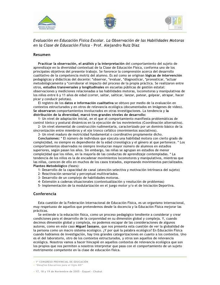 Evaluación en Educación Física Escolar. La Observación de las Habilidades Motoras en la Clase de Educación Física - Prof. ...