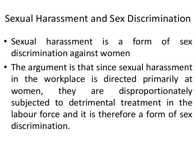 sexual harassment & discrimination in the workplace essay Essay about sexual discrimination  unwelcome sexual harassment based on the basis of the workplace sexual harassment overview combatting discrimination that .