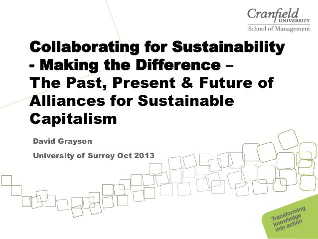 Collaborating for Sustainability - Making the Difference – The Past, Present & Future of Alliances for Sustainable Capital...
