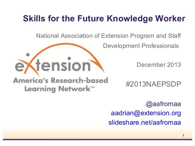 Skills for the Future Knowledge Worker National Association of Extension Program and Staff Development Professionals Decem...