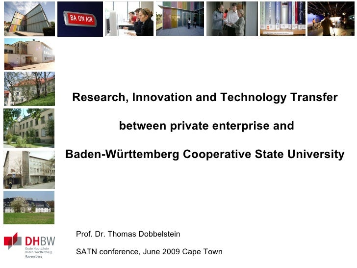 Research, Innovation and Technology Transfer  between private enterprise and Baden-Württemberg Cooperative State Universit...