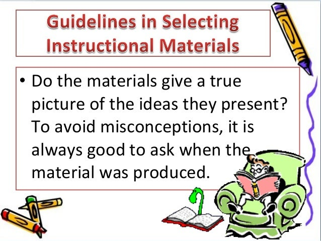 instructional materials used in teaching • the third type of instructional materials, that of written descriptions, includes scientific, scholarly, reference, and methodological teaching aids, as well as textbooks, books of problems and exercises, books for recording scientific observations, laboratory manuals, manuals for production training, and programmed textbooks.