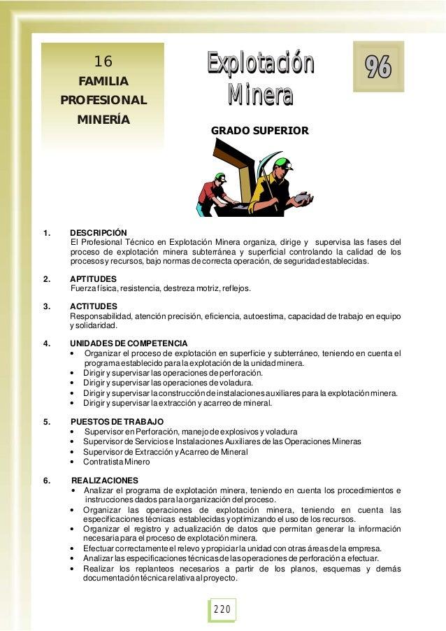 Explotación Minera Explotación Minera GRADO SUPERIOR Explotación Minera Explotación Minera 16 FAMILIA PROFESIONAL MINERÍA ...