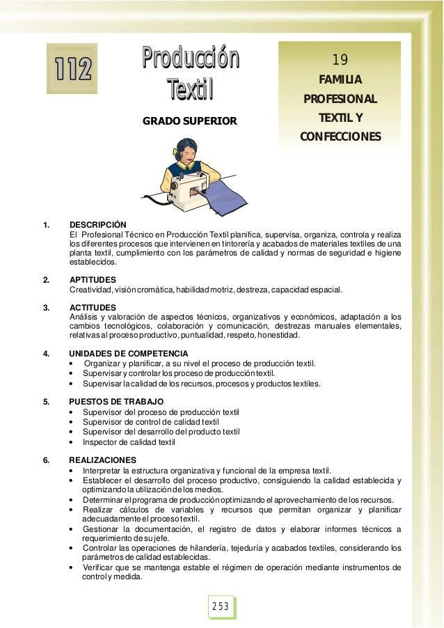 Producción Textil Producción Textil GRADO SUPERIOR Producción Textil Producción Textil 19 FAMILIA PROFESIONAL TEXTIL Y CON...