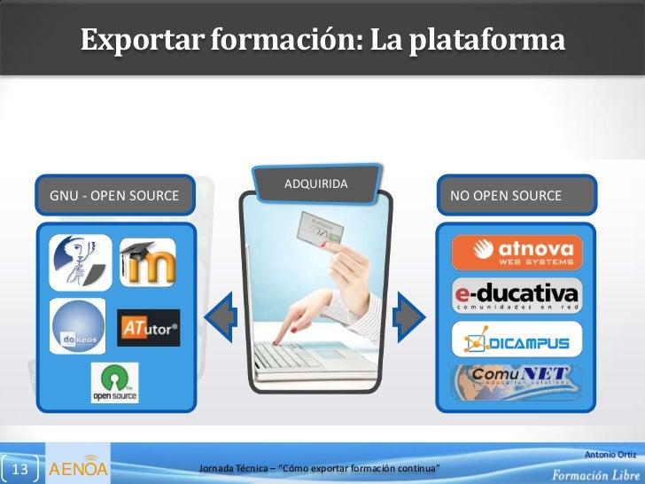 Exportar formación: La plataforma                                             ADQUIRIDA       GNU - OPEN SOURCE           ...
