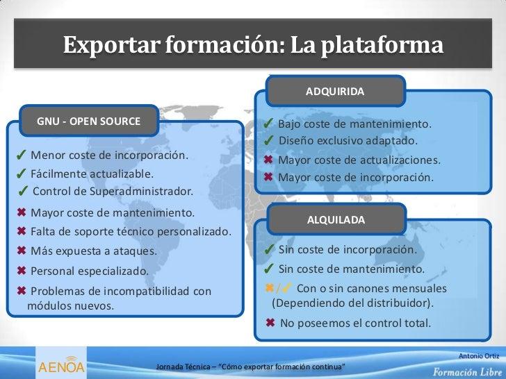 Exportar formación: La plataforma                                                                     ADQUIRIDA    GNU - O...