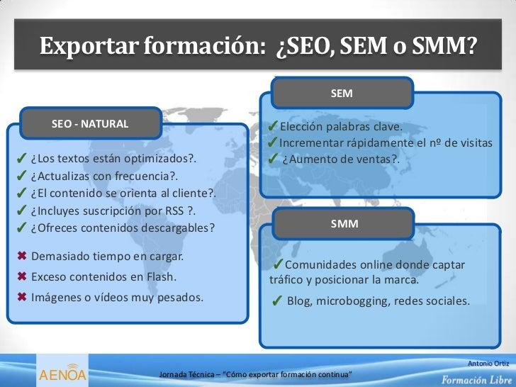 Exportar formación: ¿SEO, SEM o SMM?                                                                         SEM       SEO...