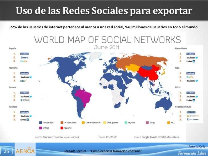 Uso de las Redes Sociales para exportar     72% de los usuarios de internet pertenece al menos a una red social, 940 millo...