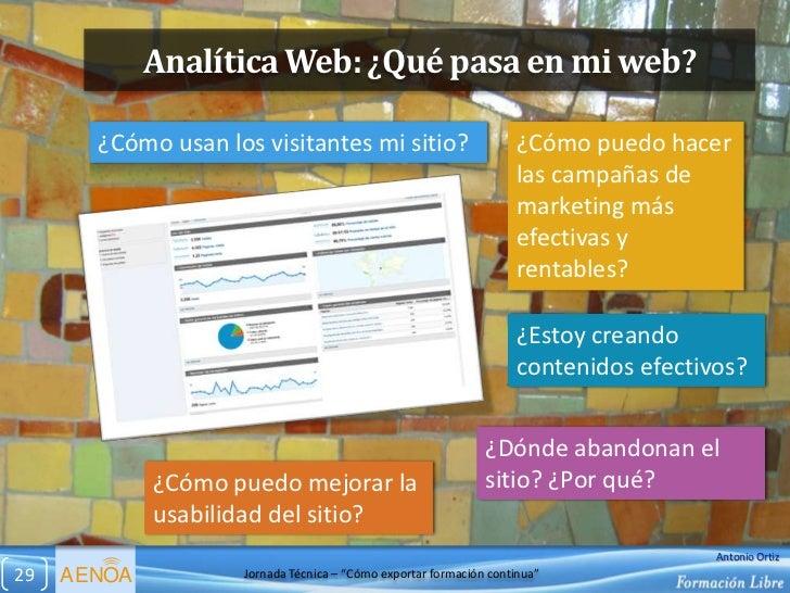 Analítica Web: ¿Qué pasa en mi web?       ¿Cómo usan los visitantes mi sitio?                         ¿Cómo puedo hacer   ...