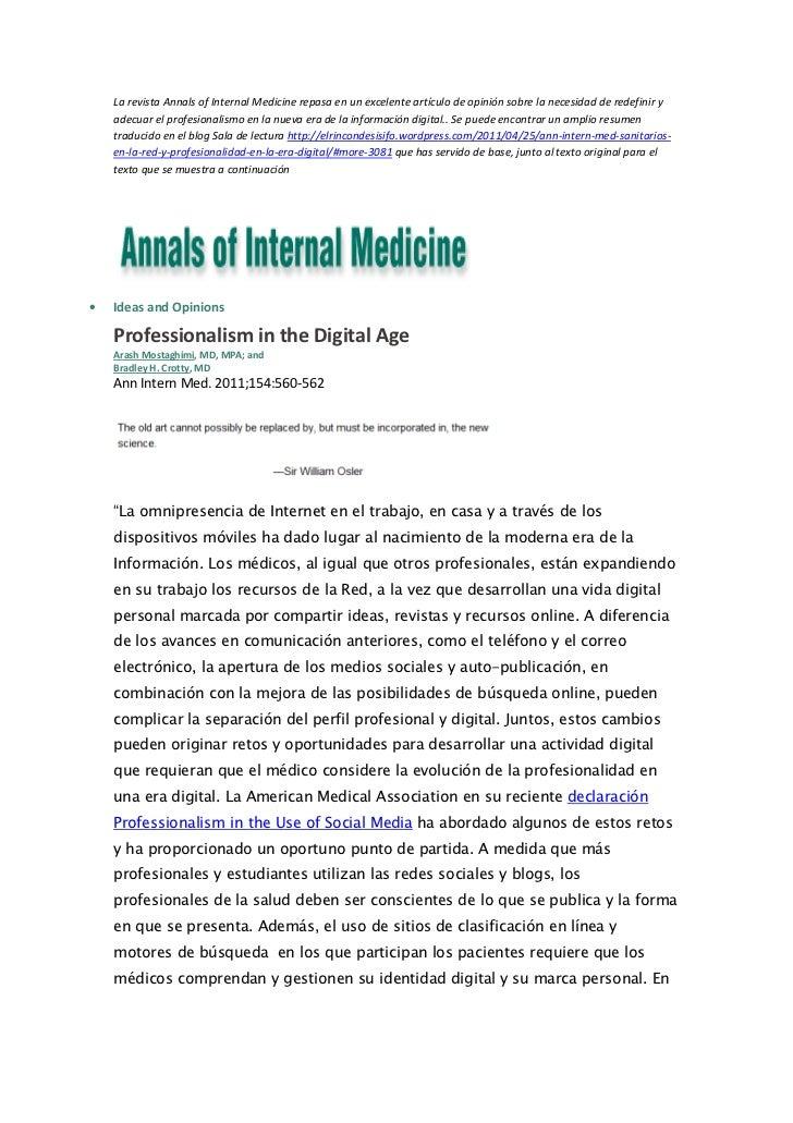 La revista Annals of Internal Medicine repasa en un excelente artículo de opinión sobre la necesidad de redefinir y    ade...