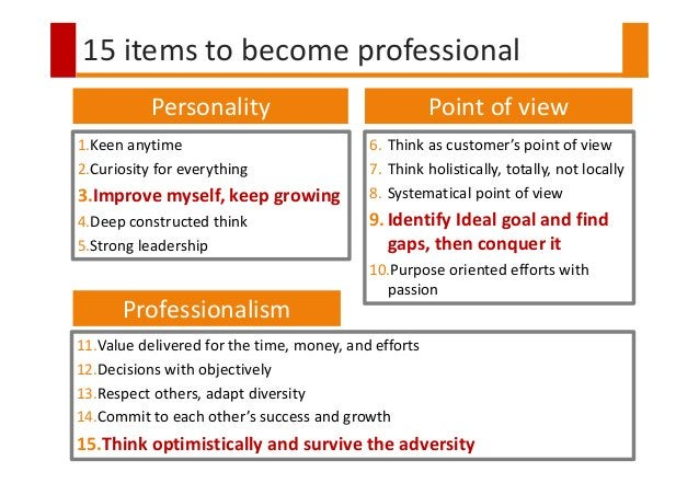 15 items to become professional Personality Professionalism Point of view 1.Keen anytime 2.Curiosity for everything 3.Impr...