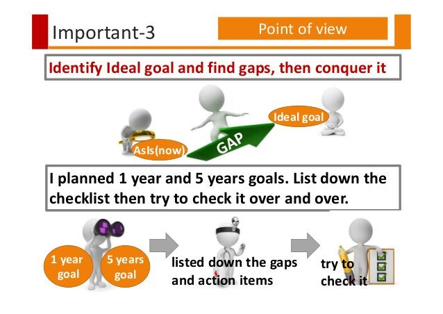 Important-3 Point of view AsIs(now) Ideal goal Identify Ideal goal and find gaps, then conquer it I planned 1 year and 5 y...