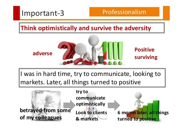 betrayed from some of my colleagues Important-3 Professionalism Think optimistically and survive the adversity adverse Pos...