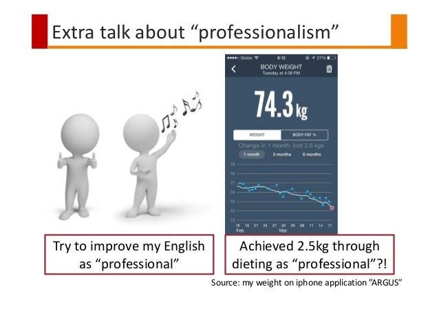 """Extra talk about """"professionalism"""" Try to improve my English as """"professional"""" Achieved 2.5kg through dieting as """"professi..."""