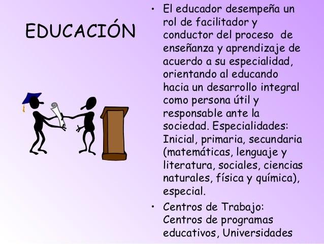 EDUCACIÓN • El educador desempeña un rol de facilitador y conductor del proceso de enseñanza y aprendizaje de acuerdo a su...