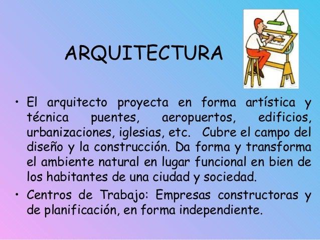 ARQUITECTURA • El arquitecto proyecta en forma artística y técnica puentes, aeropuertos, edificios, urbanizaciones, iglesi...