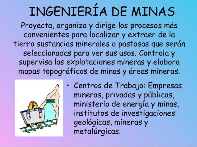 INGENIERÍA DE MINAS • Centros de Trabajo: Empresas mineras, privadas y públicas, ministerio de energía y minas, institutos...