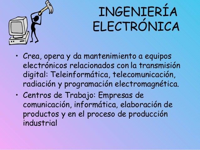INGENIERÍA ELECTRÓNICA • Crea, opera y da mantenimiento a equipos electrónicos relacionados con la transmisión digital: Te...