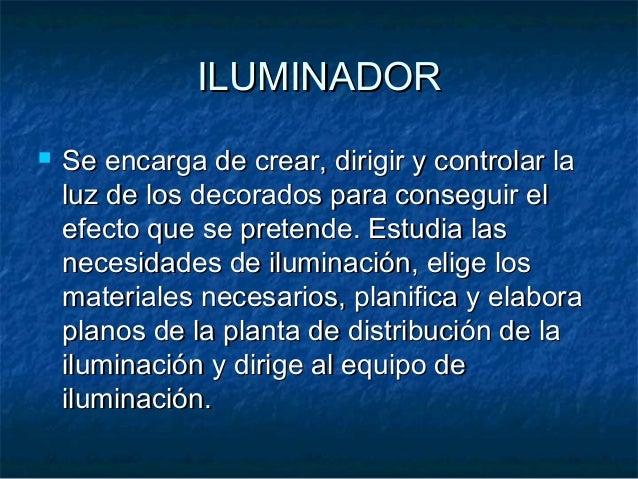 ILUMINADORILUMINADOR  Se encarga de crear, dirigir y controlar laSe encarga de crear, dirigir y controlar la luz de los d...