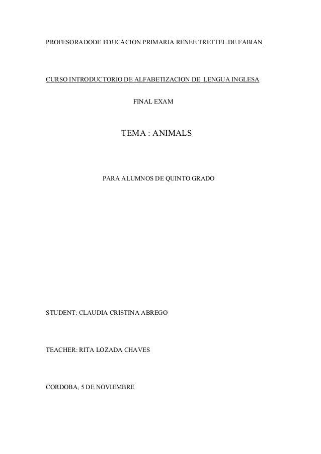 PROFESORADODE EDUCACION PRIMARIA RENEE TRETTEL DE FABIANCURSO INTRODUCTORIO DE ALFABETIZACION DE LENGUA INGLESA           ...
